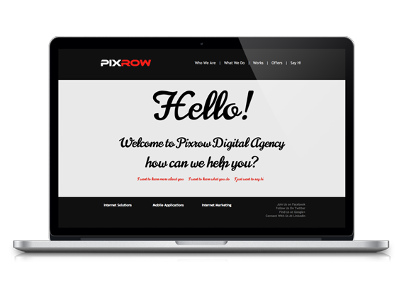 Pixrow web and mobile applications